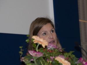 Karin Trygg från FXM talar på Försvarshögskolans arbetsmarknadsdag.