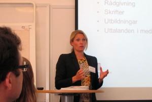 Helena Sunden, generalsekreterare på Institutet mot mutor talar om den näringslivskod som institutet tagit fram som stöd till företag.