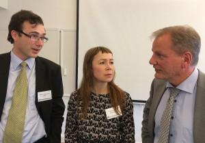 SOFF:s Robert Limmergård, Erika Svensson från Ledarna som modererade samtalet och ASD:s Jan Pie.